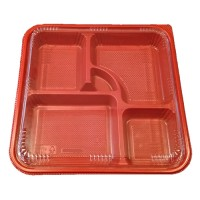 14 Inch Red and Black Bento Lunch Box 5-Comp W-Lid P8307R 200ct
