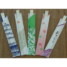 8″ Wooden Genroku Chopsticks with Open Wrapper Sleeves 4K ct