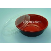 24oz Black and Red Plastic Rose Bowl HD700 300ct