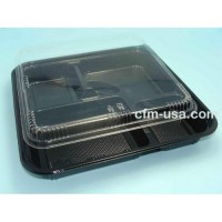 14 Inch Square Bento Lunch Box 5-Comp W-Lid J8307 200ct